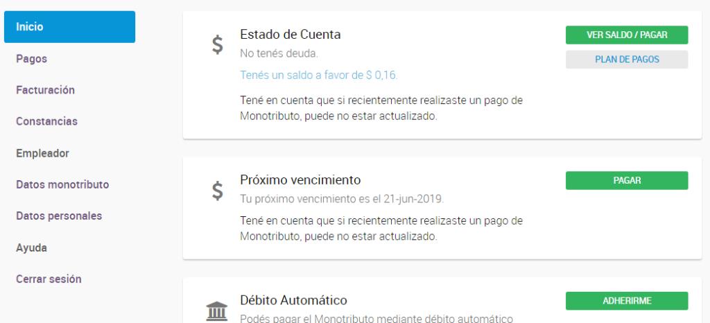 Estado de cuenta: Deuda de monotributo por web