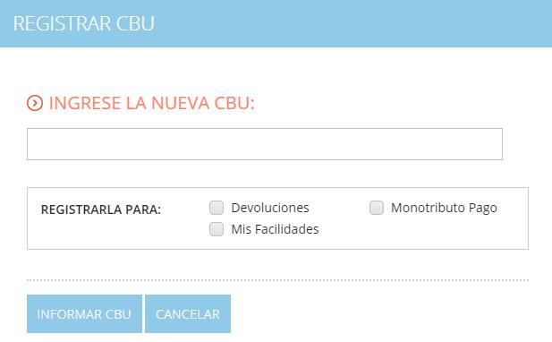 Resitrar CBU para pago de monotributo por débito automático