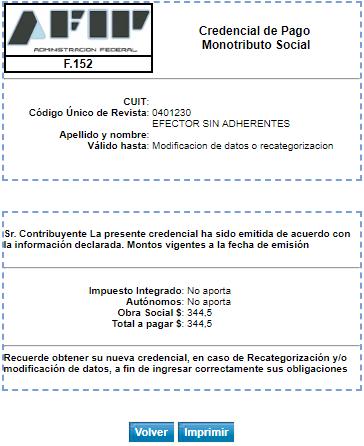 Credencial de pago monotributo social