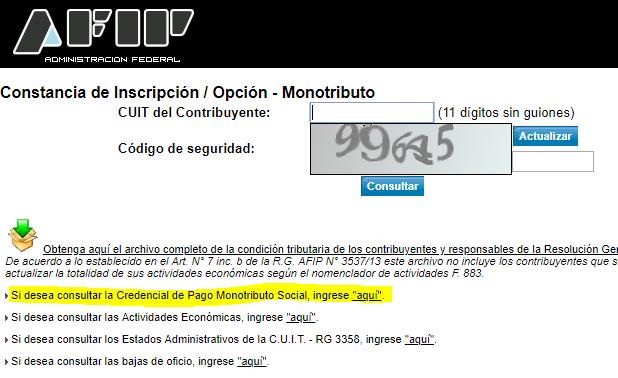 Credencial de pago monotributo social desde constancia de inscripción