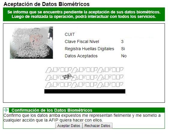inscribirse en monotributo: aceptar datos biométricos